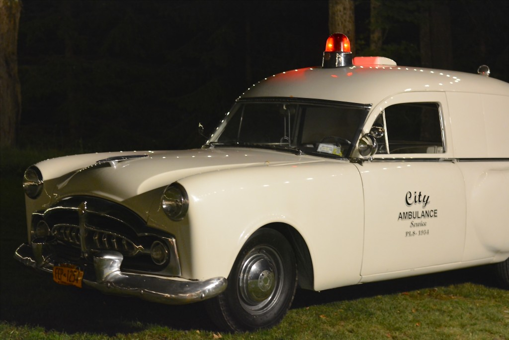 The vintage ambulance that was on display at the reception site...