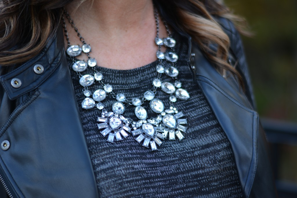 Necklace: Baublebar | Crystal Feather Bib