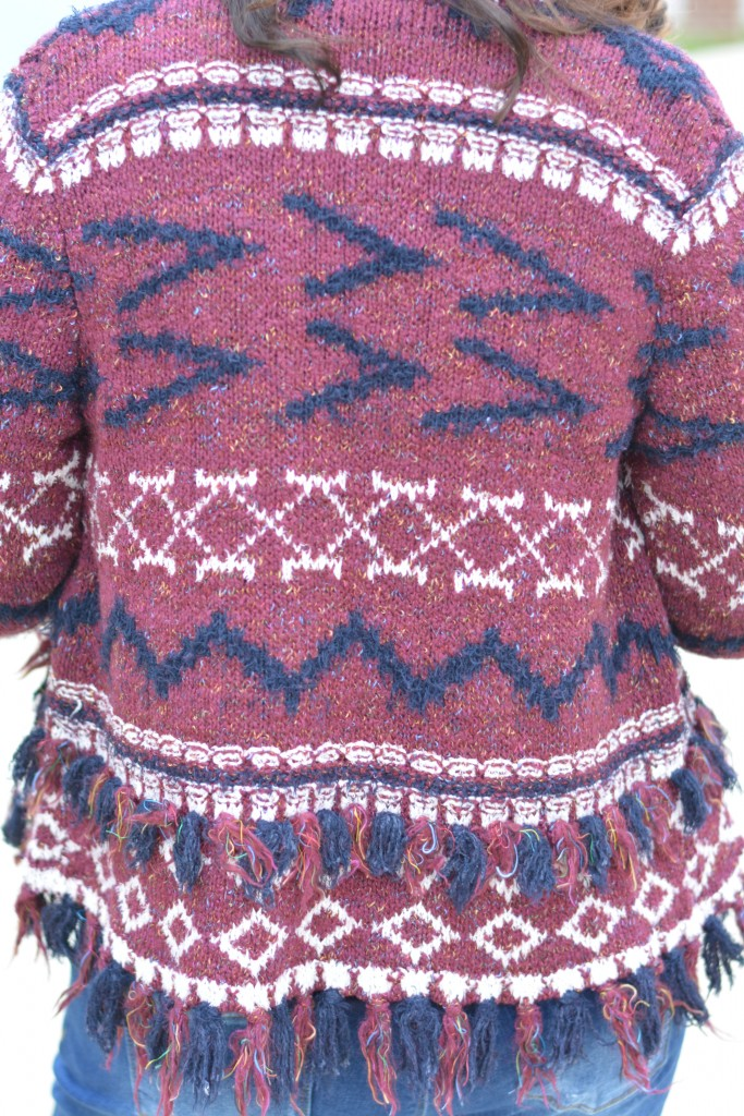 Sweater: Anthropologie   Fringed Veras Cardigan (currently on sale)  Click here to shop