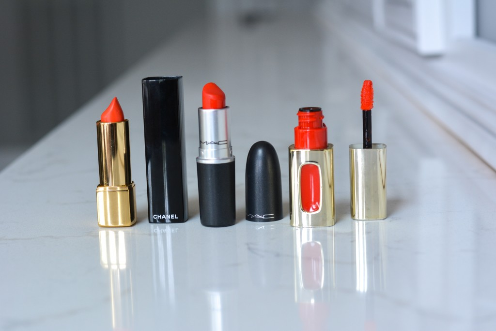 From far left: CHANEL in Excentrique; MAC in Lady Danger; Loreal in Orange Tempo