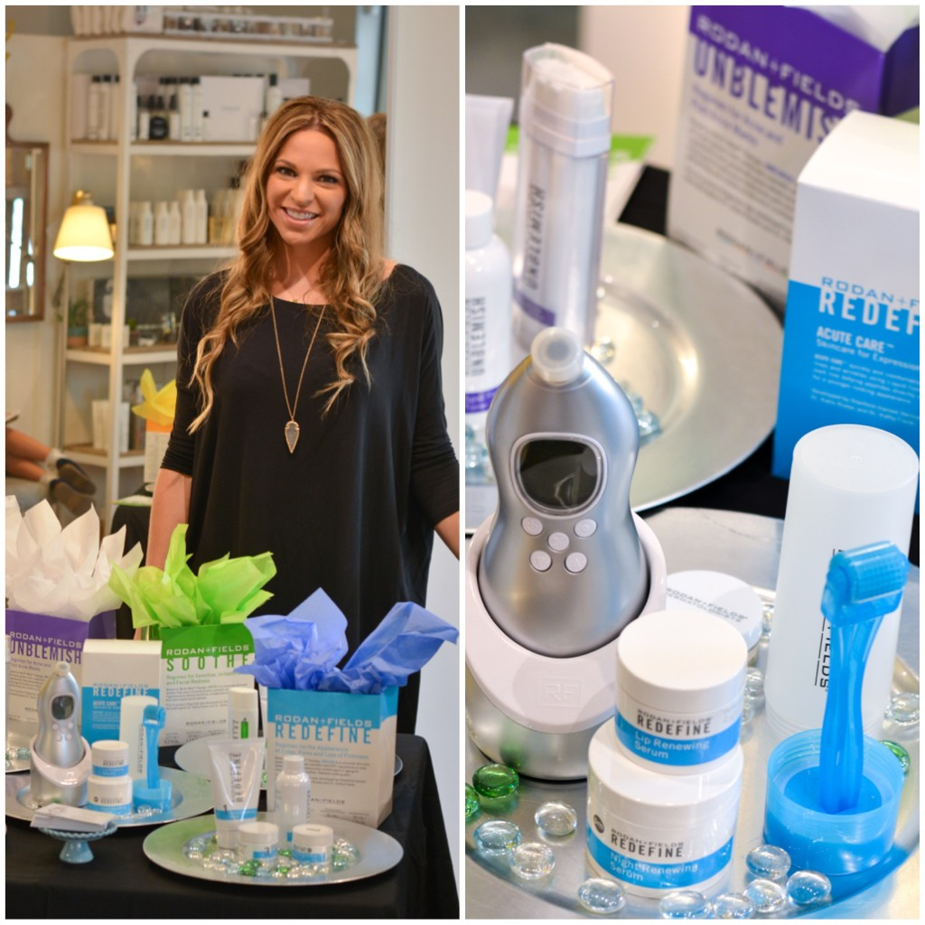 Rodan + Fields Executive Consultant Mary Samson displaying some of the product line